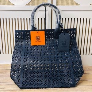Tory Burch Navy Blue Lace Perforated Patent Tote